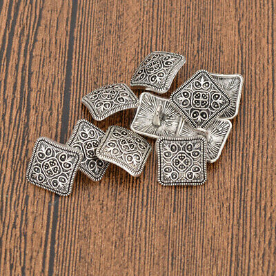 Antique Silver Metal Shank Buttons Sewing Square Floral Carving DIY Craft 10x