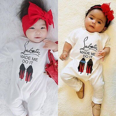 Baby Girl Boy First Birthday Romper Party Bodysuit Cotton Outfits 0-1Y