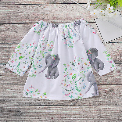 Toddler Kids Baby Girls Dress Long Sleeve Elephant Tops T-Shirt Dresses Clothes