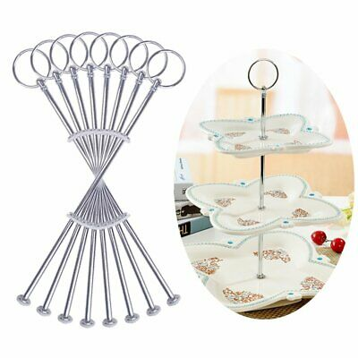 8 Sets 3 Tier Sliver Cake Stand Cupcake Food Display For Birthday Wedding Party