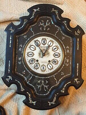 Antique french Oeil De Boeuf Napolean III Wall clock 1800s Inlayed Picture Frame
