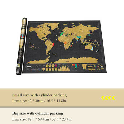 Deluxe Travel Edition Scratch Off World Map Poster Personalized Journal Log USA