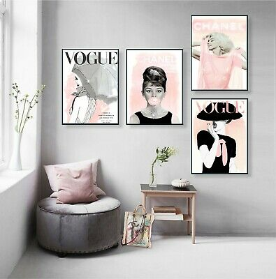 VOGUE & CHANEL Posters - Set of 4 Fashion Wall Art - 1 FREE Print Included