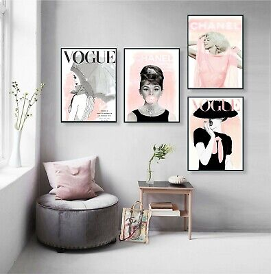 Vogue Posters - Audrey Hepburn Print - Set of 4 Prints Fashion Wall Art