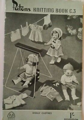 VINTAGE Dolls clothes Patons Knitting Book C.3 1950s - 60s VGC