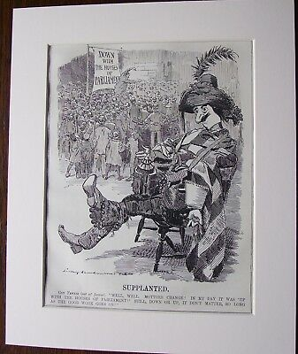 Vintage Punch Cartoon Mounted GUY FAWKES HOUSES OF PARLIAMENT 1908