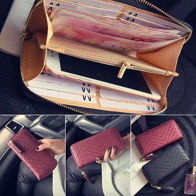 New Womens Leather Card Holder Long Wallet Clutch Checkbook Tassel Handbag Purse