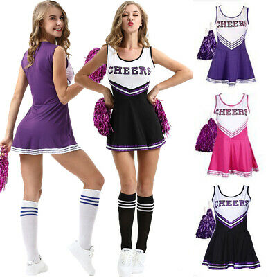 Cheerleader Fancy Dress Outfit Uniform High School Musical Costume Pom Poms S-Xl