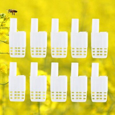 10Pc Queen Bee Safe Protector Queen Bee Cages Coops Container With Snap Off Tags