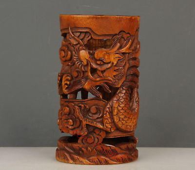 Chinese Exquisite Hand-carved Dragon carving Boxwood Brush Pot