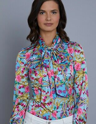 3c53d397708b6 Hawes   Curtis Women s Blue Floral Stripe Fitted Satin Blouse Single Cuff