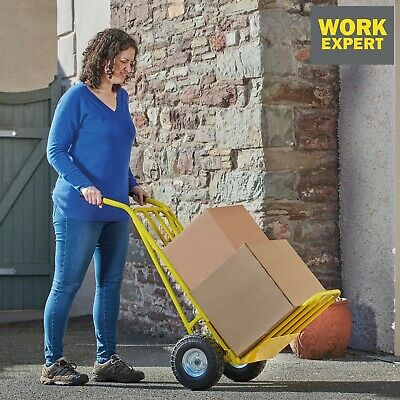 Work Expert Sack Truck Trolley Heavy Duty Folding Barrow Pneumatic Tyres 300kg
