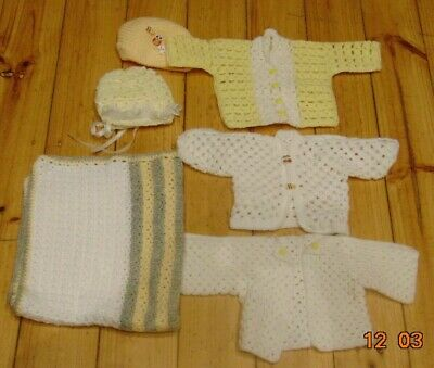 6 Hand Crochet Knitted Cardigans Jumper Hats Blanket Baby Yellow Boy Girl Birth