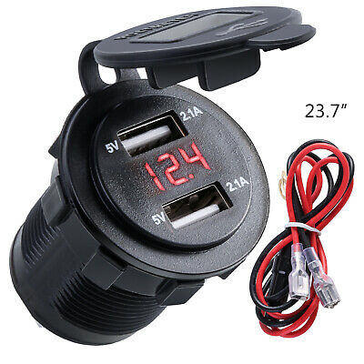 4.2A Car Cigarette Lighter Socket Dual USB Charger Adapter LED Voltmeter 12V/24V
