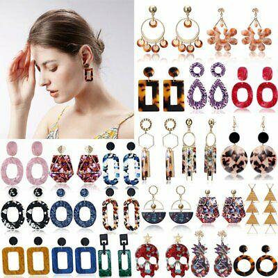 Fashion Geometric Boho Acrylic Resin Dangle Drop Hook  Stud Earrings Women Gift