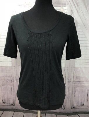 f84a0b8e Talbots Womens Beaded Knit Blouse T-Shirt Tee Top Black Sz Petite Small PS