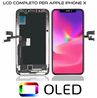Lcd Oled Per Apple Iphone X Ten 10 Schermo Vetro Frame Display Touch Screen Nero
