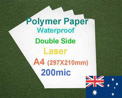 50 X A4 200mic Polymer Waterproof Double Side Laser Print Paper