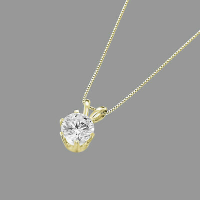 2 1/2 Ct Solitaire Round Enhanced Diamond Pendant Necklace D/SI1 14K Yellow Gold