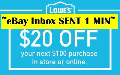 THREE 3x Lowes $20 OFF $100Coupons-Online-/ Instore -SENT-VERY-FAST-1~MIN--