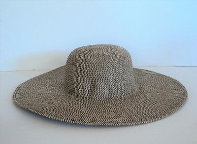 43354649b21 David   Young BLACK BROWN WHITE Large Brim BEACH Sun Hat Straw Weave FLASH  SALE