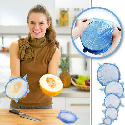 6PCS Silicone Stretch Lids Universal Silicone Food Wrap Bowl Pot Lid Cover Pan