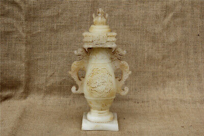 """11"""" Antique China old Carved white jade double dragon pixiu vase statue"""