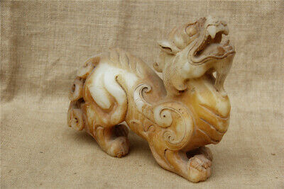 """9"""" Antique rare Chinese old handCarved white jade dragon pixiu statue"""