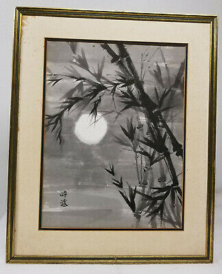 Antique Vintage Painting Paper Grisaille Black and White Chinese Japanese Signed