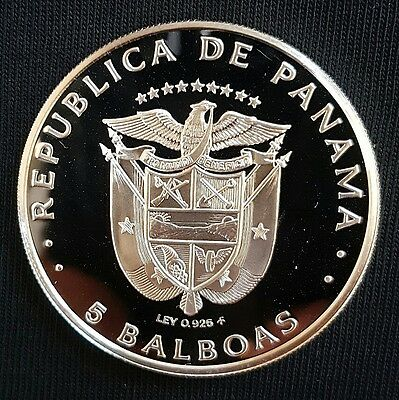 1975 Panama 5 Balboas Silver Proof Coin....(Cameo Proof)