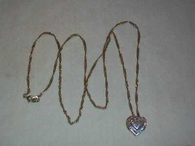 Adorable 14K Gold Diamond Heart Within A Heart Dimensional Pendant Necklace