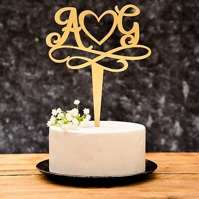 Initial Mr & Mrs Wedding Calligraphy Cake Topper Gold and Silver
