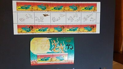 Christmas Island Year of the Rabbit 1999 Mini-sheet + gutter set / block 10