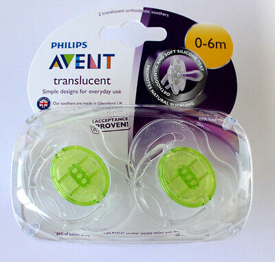 Philips Avent SCF170/18 2-Pack Translucent Orthodontic Soother 0-6m - Green