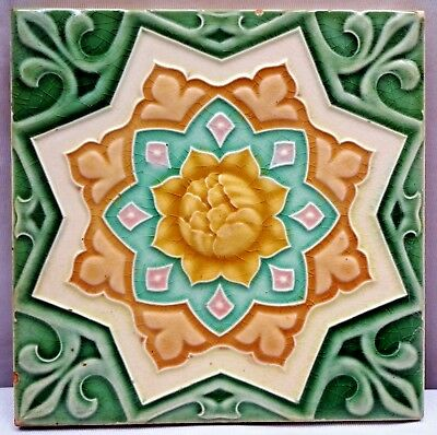 Tile Vintage Porcelain Majolica Art Nouveau Geometric Design Made In Japan #193
