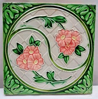 Tile Porcelain Ceramic Art Nouveau Majolica Old Flower Design Vintage Japan #199