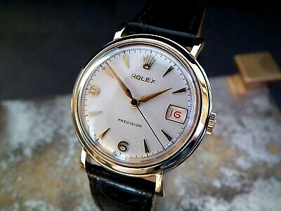 Stunning 1956 Solid 9ct Gold Rolex 'Roulette' Date Precision Gents Vintage Watch