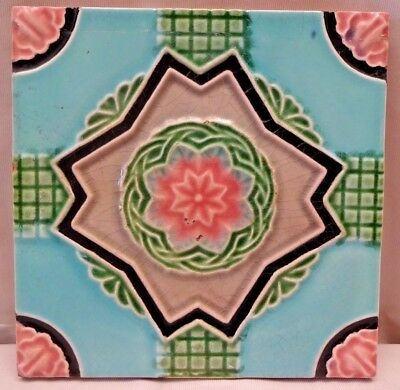 Vintage Tile Japan Ceramic Porcelain Majolica Art Nouveau Flower Design Rare#214
