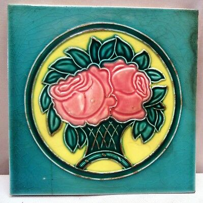 Vintage Tile Rose Tree Art Nouveau Ceramic Porcelain Majolica Saji Made In Japan