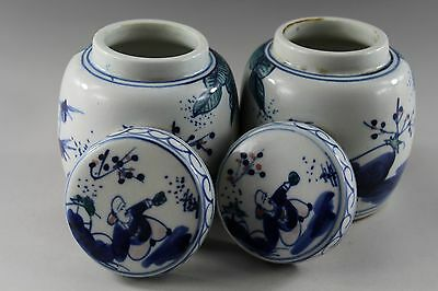 3.7'' Chinese white blue porcelain figure painting Tea Caddies 7250