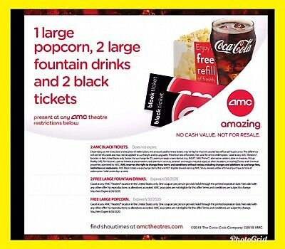 INSTANT DELIVERY || Free AMC Theater: 1 Lg Popcorn, 2 Lg Drinks, 2 Black Tickets