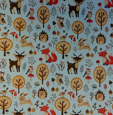 FREE P /& P Woodland Cream Polycotton Fabric 112cm