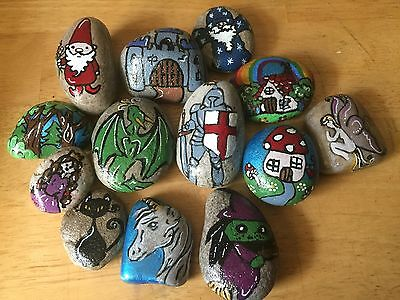 Hand Painted Story Stones with Hand Made Cotton Bag- choose your set or custom