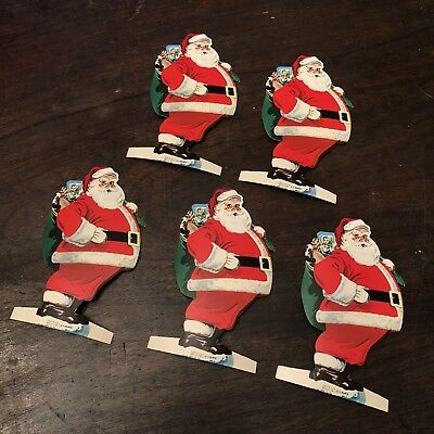 5 vintage Bank Christmas Club Diecut Santa Claus figure Dime Savings ny Ornament