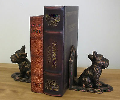 Pair Cast Iron Scotty Scottie Scottish Terrier Dog Bookends Antique Style
