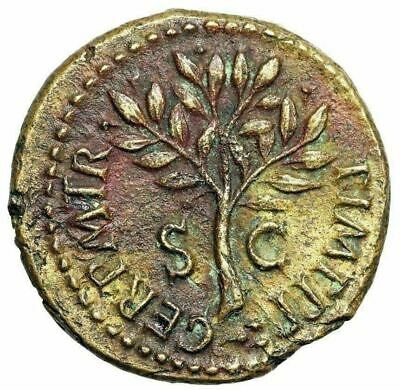 "Nero AE Quadrans ""Column, Helmet Gorgon Shield & Olive Branch"" RIC 250 Choice EF"