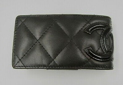 Chanel Ligne Cambon Mini iPod Case Quilted CC Logo Brown Leather Card Holder
