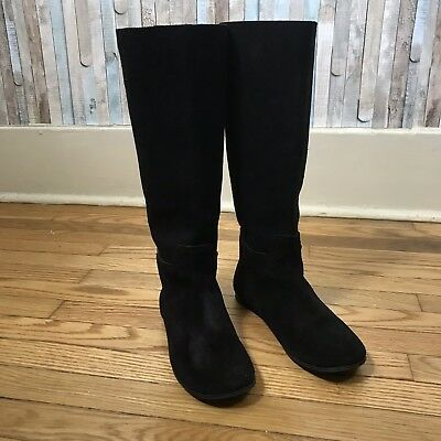 5f3204f52321 Pedro Garcia 37.5 7.5 Black Suede Leather Easy Knee High Tall Riding Boots   745