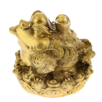Golden FengShui Oriental Chinese Wealth Lucky Money Frog Toad Attract Wealth