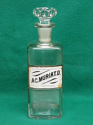 Rare Signed & Dated 1800s Apothecary Jar W/Hand Decorated Label Under Glass (1)